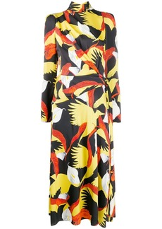 Temperley bird print flared dress
