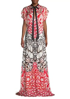Temperley Blaze Printed Long Silk Dress