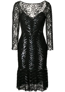 Temperley boat neck fitted waist beaded dress