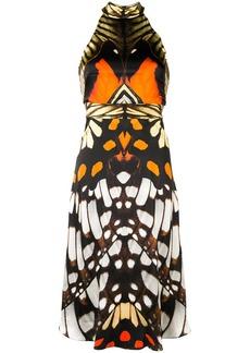 Temperley butterfly printed halter dress