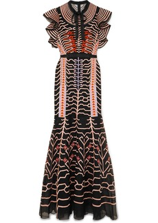 Temperley Canopy Pussy-bow Silk Satin-trimmed Embroidered Organza Gown