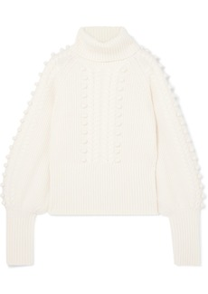 Temperley Chrissie Cable-knit Merino Wool Turtleneck Sweater