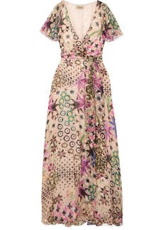 Temperley Claudette Printed Devoré Silk-blend Chiffon Wrap Maxi Dress