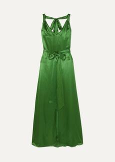 Temperley Darling Belted Silk-blend Satin Maxi Dress