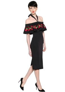 Temperley Embroidered Fitted Crepe Dress