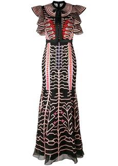 Temperley embroidered geo ruffle sleeve dress