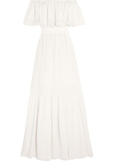 Temperley Felicity Off-the-shoulder Lace-trimmed Silk Crepe De Chine Gown