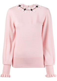 Temperley floral embroidered fine knit sweater