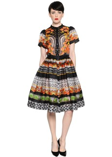 Temperley Floral Lace Printed Silk Satin Dress