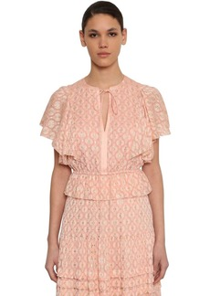 Temperley Gold Embroidered Silk Chiffon Top