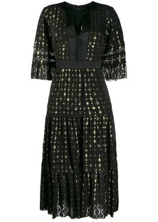 Temperley gold flecked tiered dress