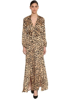 Temperley Leopard Print Silk Satin Dress