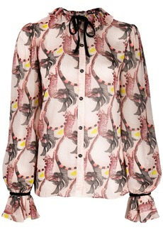 Temperley Maggie feather-print shirt