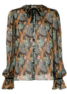 Temperley Maggie leaf print shirt