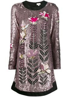 Temperley magnolia sequin shift-dress