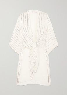 Temperley Neri Tie-front Sequin-embellished Crepe Kimono