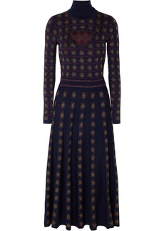 Temperley Night Cutout Metallic Intarsia Wool-blend Midi Dress
