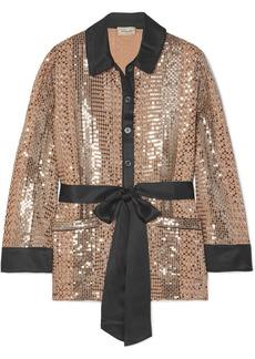 Temperley Platinum Silk Satin-trimmed Sequin-embellished Chiffon Shirt