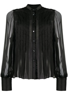 Temperley pleated chiffon and satin blouse