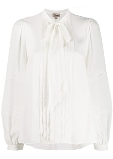 Temperley pleated pussy bow blouse