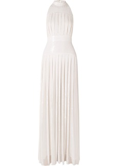 Temperley Pleated Sequined Chiffon Gown