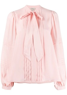 Temperley pleated tie neck blouse