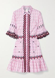 Temperley Poet Embroidered Printed Cotton-poplin Mini Dress