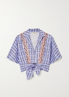 Temperley Poet Tie-front Embroidered Printed Cotton-poplin Shirt