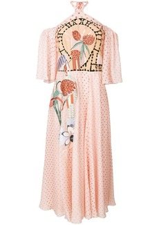 Temperley polka dot embroidered halterneck dress