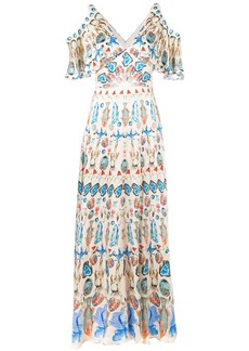 Temperley printed cold shoulder maxi dress