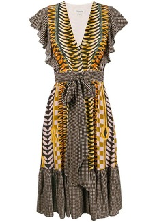 Temperley printed tie waist dress