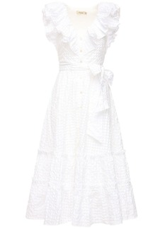 Temperley Ruffled Gingham Midi Dress