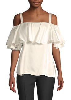 Temperley Seabright Cold-Shoulder Silk Blouse