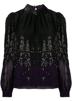 Temperley sequined long-sleeve blouse