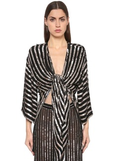 Temperley Sequined Stripes Kimono Top