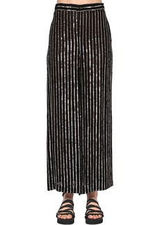 Temperley Sequined Stripes Wide Leg Pants