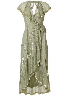 Temperley sequinned lace frill trim dress