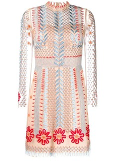 Temperley sheer embroidered mini dress