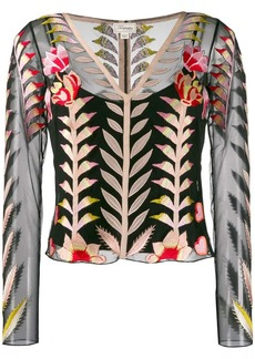Temperley sheer embroidered top