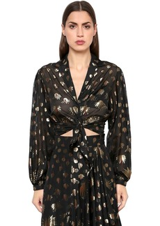 Temperley Silk Blend Lamé Cropped Top