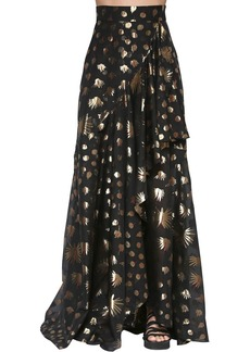 Temperley Silk Blend Lamé Long Skirt