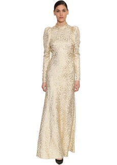 Temperley Silk Lamé Leopard Jacquard Long Dress