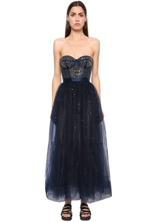 Temperley Silk Satin & Sequined Tulle Dress