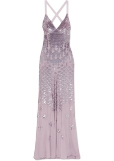 Temperley Starlet Open-back Sequin-embellished Chiffon Gown