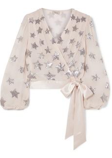 Temperley Starlet Silk Satin-trimmed Sequin-embellished Chiffon Wrap Top