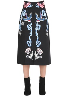 Temperley Tattoos Embroidered Poplin Midi Skirt