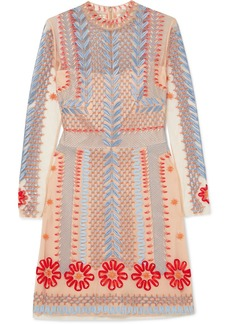 Temperley Teahouse Embroidered Tulle Mini Dress