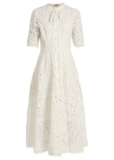 Temperley London Berry lace tie-neck dress