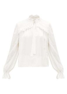 Temperley London Birdie balloon-sleeve satin blouse