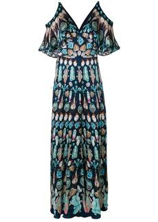 Temperley London cold shoulder maxi dress - Blue